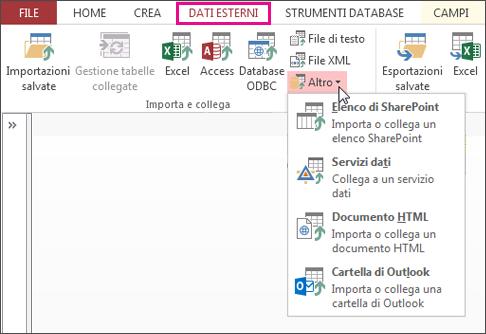 Opzioni della scheda Dati esterni in Access