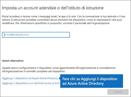 Fare clic su Aggiungi il dispositivo ad Azure Active Directory