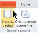 Nella scheda Progettazione della barra multifunzione selezionare Imposta pagina.