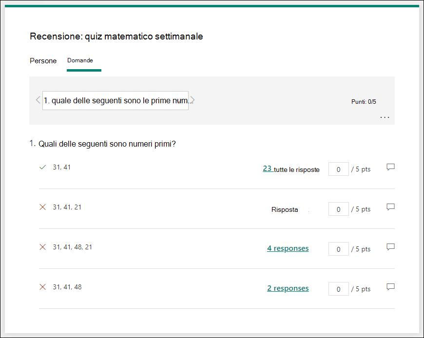 Rivedere le domande del test