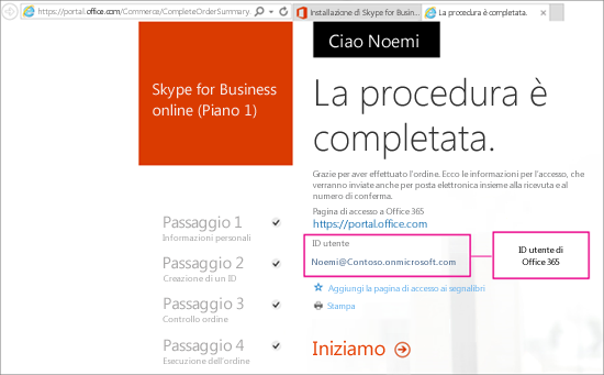 Quando si acquista Skype for Business Online, si crea un account di Office 365.