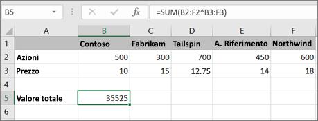 Esempio di formula in forma di matrice che calcola un singolo risultato