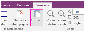 Screenshot del pulsante Formato carta in OneNote 2016.