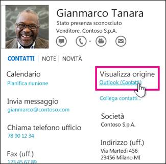 Collegamento Visualizza origine di Outlook in una scheda contatto