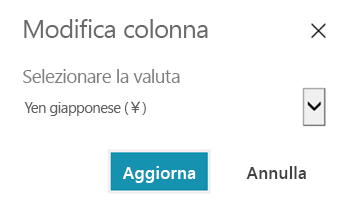 Personalizzare la valuta