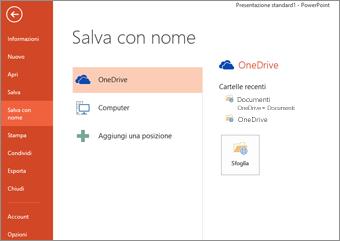 Salvare nell'area personale di OneDrive