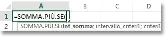 Uso di Completamento automatico formule per immettere la funzione SOMMA.PIÙ.SE