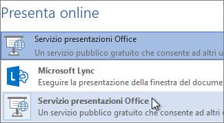 Presenta online con Servizio presentazioni Office