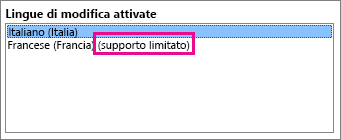 Modifica di una lingua con supporto limitato