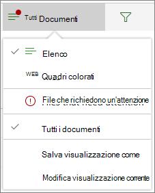 File che richiedono un'attenzione nel menu Opzioni di visualizzazione