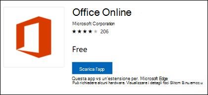 Pagina di estensione Office Online in Microsoft Store