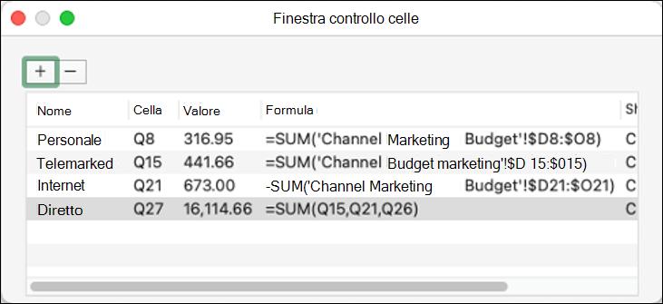 Finestra Espressioni di controllo in Excel 2021 per Mac con nome, cella, valore e formula visualizzati