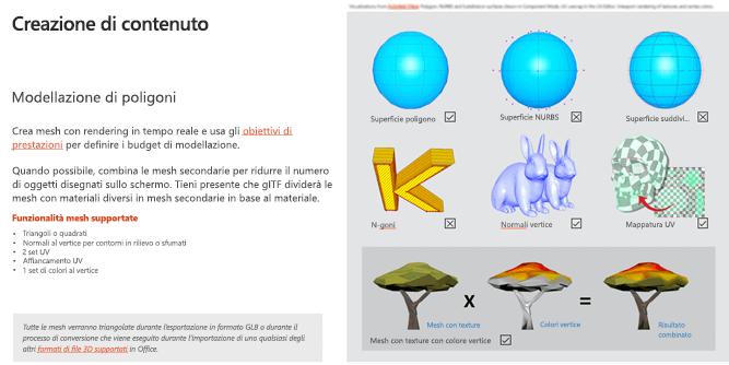 Screenshot della sezione creazione contenuto delle linee guida per il contenuto 3D