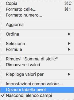 Opzioni tabella pivot nel menu di scelta rapida di Excel per Mac.