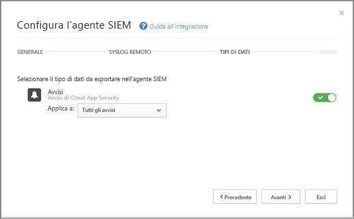 Selezionare gli avvisi e le attività da esportare nel server SIEM.