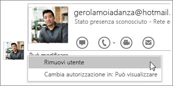 Screenshot delle opzioni Interrompi condivisione in OneNote 2016.