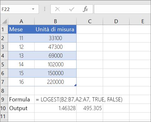 Esempio 1: funzione LOGEST