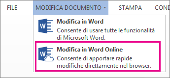 Immagine del comando Modifica in Word Web App