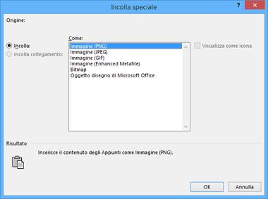 Opzioni Immagine nella finestra di dialogo Incolla speciale