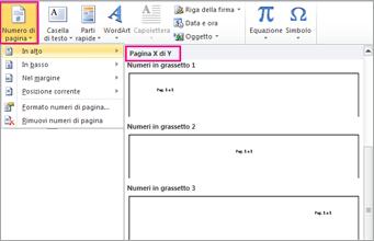 Selezionare un formato di pagina X di Y