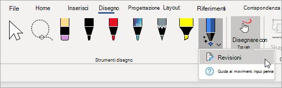Selezionare revisioni per la penna dell'editor input penna.