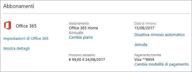 Screenshot della pagina Servizi e abbonamenti
