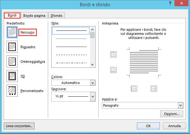 Outlook 2010 Borders and Shading dialog box