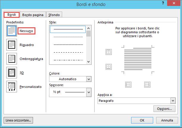 Finestra di dialogo Outlook 2010 bordi e sfondo