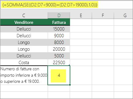 Esempio 2: Funzioni SOMMA e SE annidate in una formula