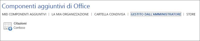 Screenshot della scheda Gestito dall'amministratore della pagina Componenti aggiuntivi per Office in un'applicazione di Office. Il componente aggiuntivo Citazioni viene visualizzato nella scheda.