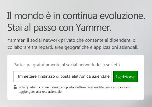 Schermata di accesso a Yammer