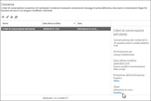 Opzione per disattivare i criteri di conservazione nella pagina Conservazione del Centro sicurezza e conformità