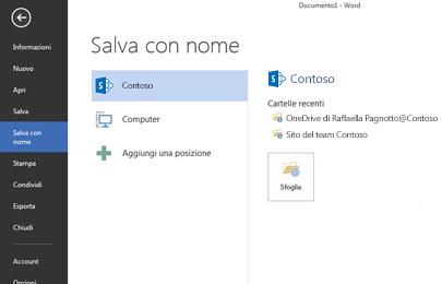 Schermata Salva che mostra un sito di SharePoint e OneDrive for Business aggiunto come posizione