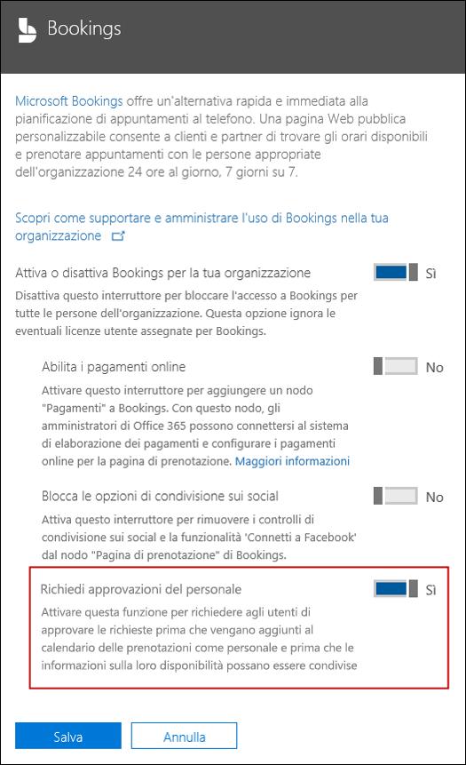 Screenshot: selezionare questa opzione per richiedere l'approvazione dell'utente prima che possa essere aggiunta a una pagina di prenotazione