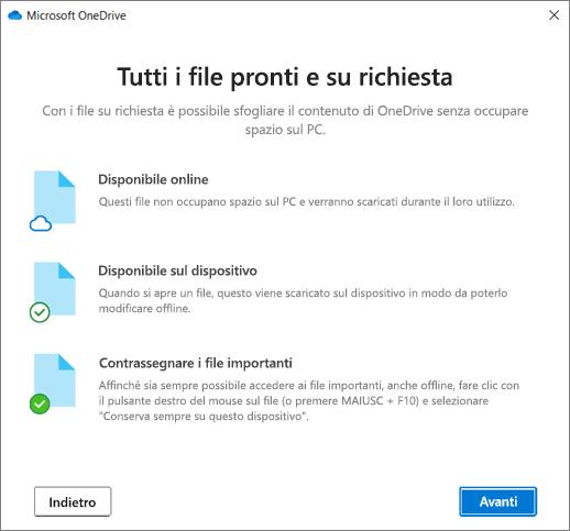La schermata File su richiesta nella procedura guidata Benvenuto in OneDrive