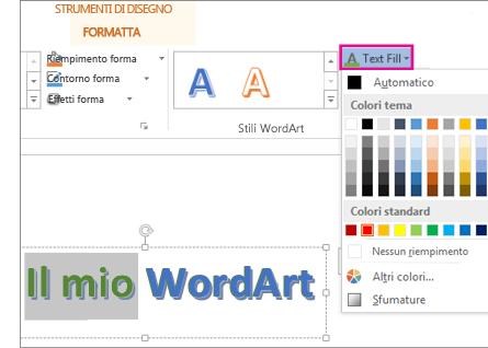 Raccolta Colori di riempimento testo nella scheda Strumenti di disegno - Formato
