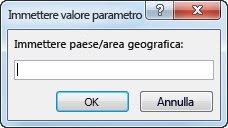 """Prompt del parametro con il testo """"Immettere il paese o l'area geografica""""."""