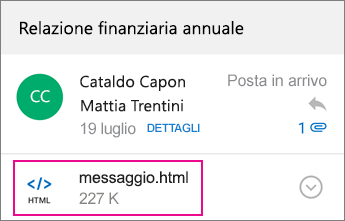 Visualizzatore OME con Outlook per Android 1