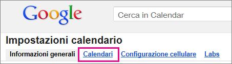 In Google Calendar fare clic su Calendari