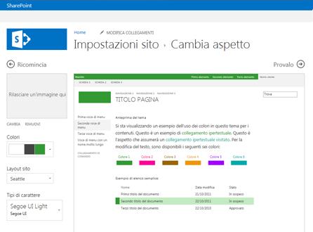 Esempio di schermata usata per cambiare tipo di carattere, colore e layout del sito