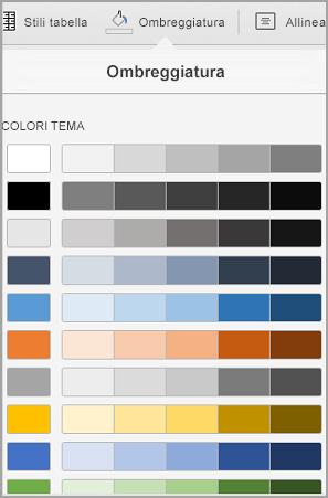 Opzioni sfondo tabella in iPad