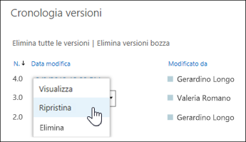 """Selezionare """"Ripristina"""" dal menu a discesa per la versione del documento selezionata"""