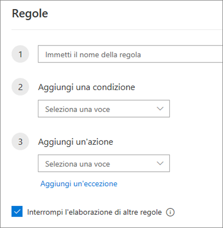 Creare una nuova regola in Outlook sul Web