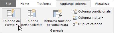 Pulsante Colonna da esempi nella scheda Aggiungi colonna dell'Editor di query
