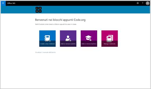 Schermata iniziale per creare un blocco appunti della classe Code.org