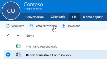 Selezionare un file per abilitare i pulsanti di visualizzazione, invio tramite posta elettronica o download.