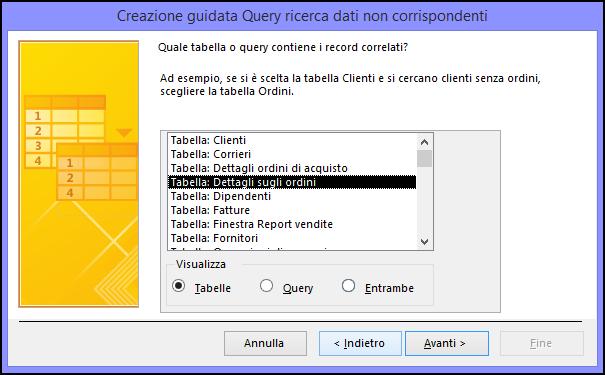 Selezionare una tabella o una query contenente i record correlati nella finestra di dialogo Creazione guidata Query ricerca dati non corrispondenti