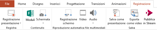 Scheda Registrazione sulla barra multifunzione di PowerPoint 2016
