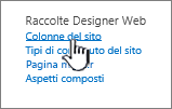 Opzione Colonna del sito nella pagina Impostazioni sito