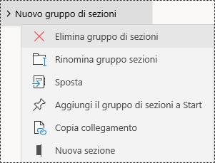 Eliminare gruppi di sezioni nell'app OneNote per Windows 10